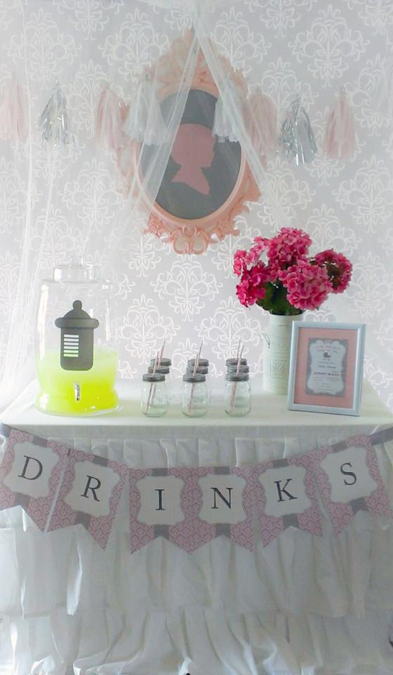 Pink-Grey-Dessert-table-babyshower-ballerina-drinks-station
