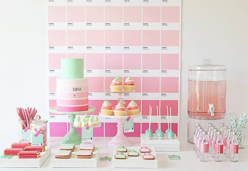 ombre-pink-mint-party-dessert-buffet