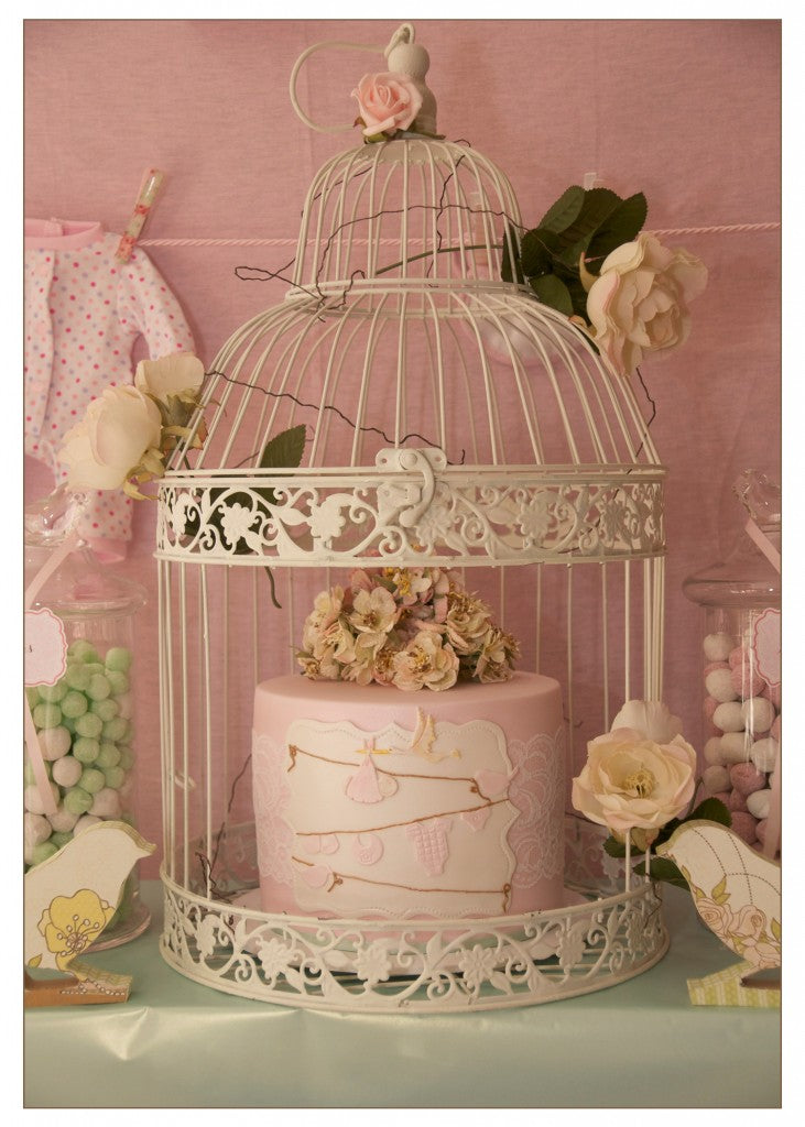 vintage-bird-themed-baby-shower-mint-pink-cake