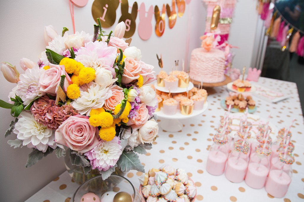 pink-gold-bunny-first-birthday-dessert-table
