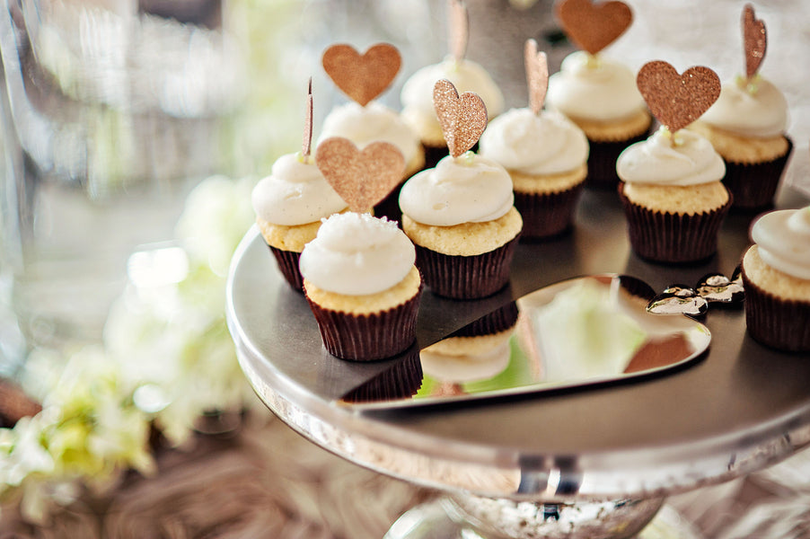 Glitter Cupcake Toppers, White cupcakes