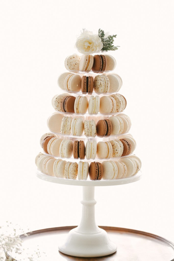 macaron-tower-White-Wedding-dessert-table-candy-bar