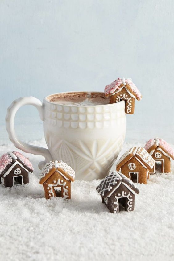 Mini Gingerbread Houses around a cup