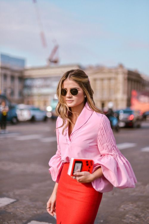 pink-flare-sleeve-shirt