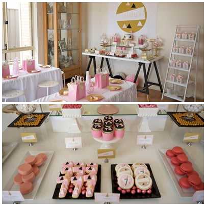 candy-table-geometrical-theme-pink-and-gold-seventh-birthday-party