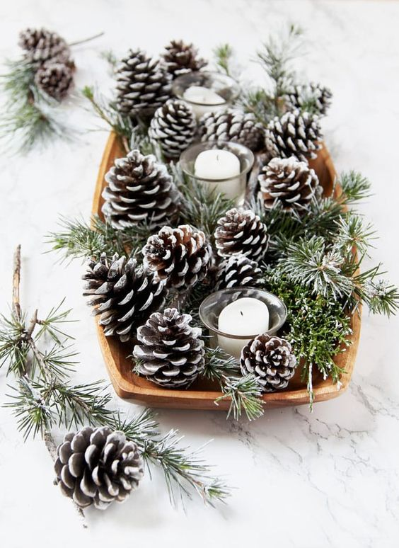 Christmas pine cones painted white