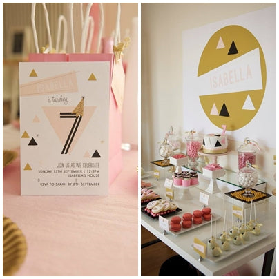 dessert-table-geometrical-theme-pink-and-gold-seventh-birthday-party