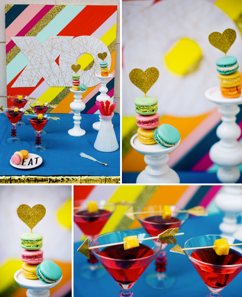 ght-colored-valentines-day-dessert-table-maison-de-macarons-french-macarons-red-cocktails-with-bow-and-arrow-skewers-xo-string-board-jepson-center-weddings