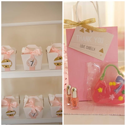 goodie-bags-geometrical-theme-pink-and-gold-seventh-birthday-party