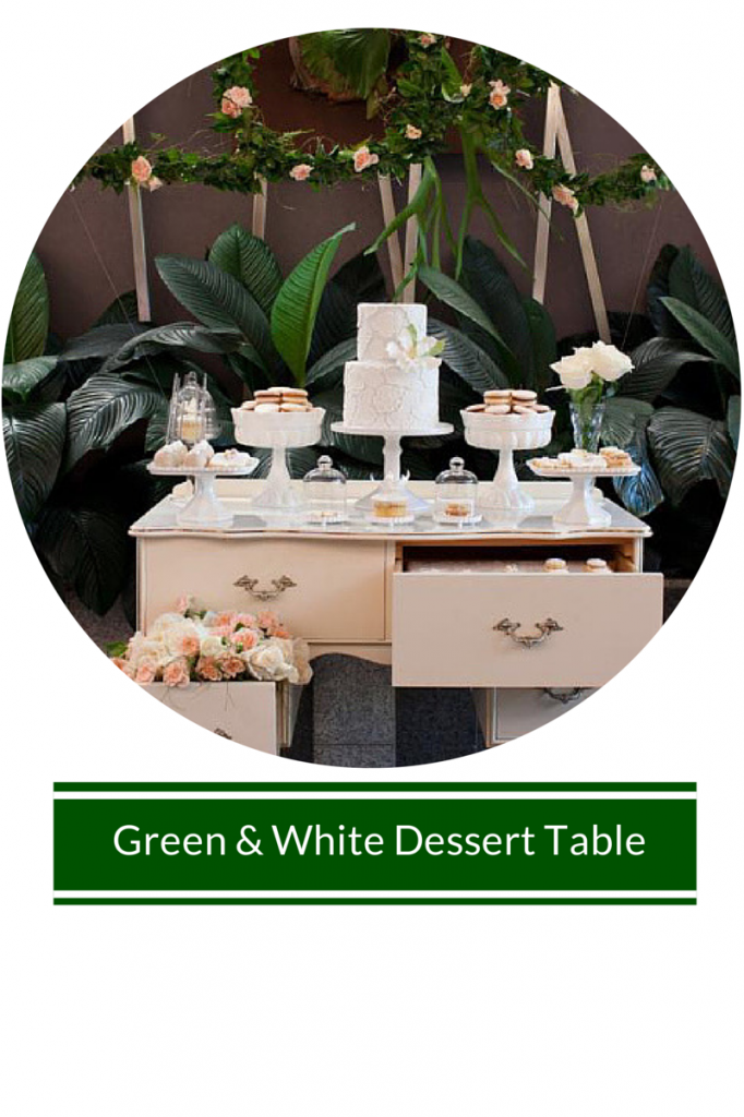 green-white-dessert-table