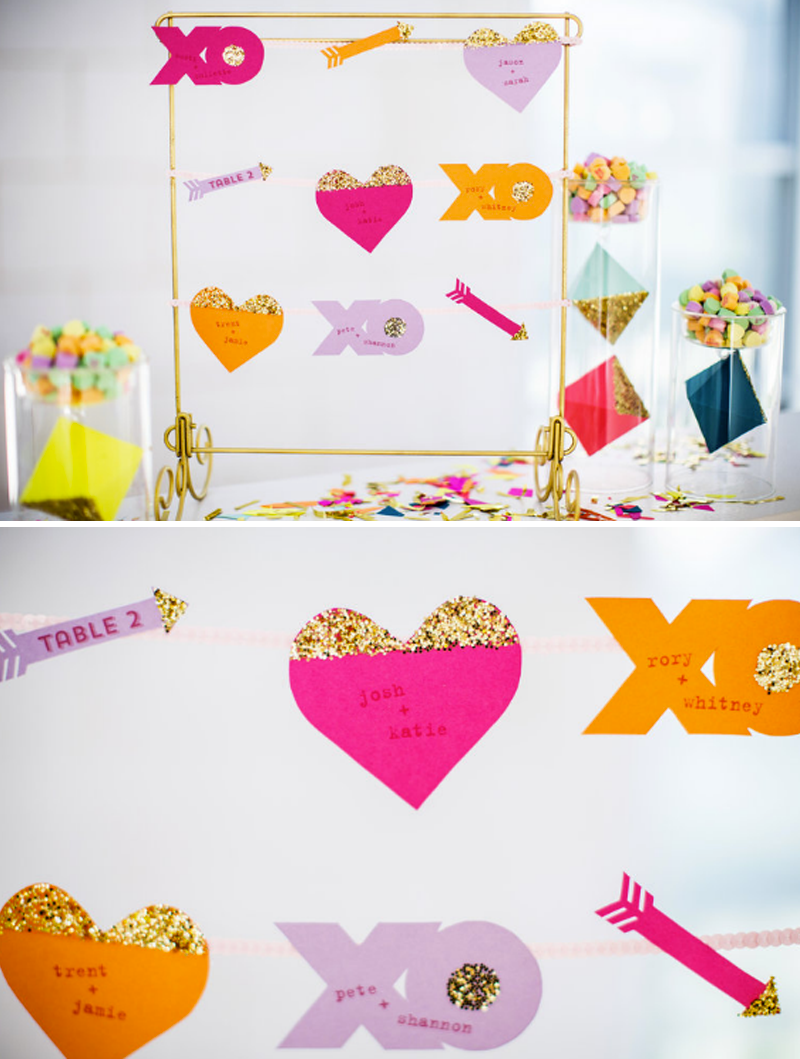 ines-day-modern-inspiration-shoot-jepson-center-wedding-planner-miss-pickles-press-escort-cards-valentines-day-escort-cards-xoxo-bow-and-arrow-escort-cards