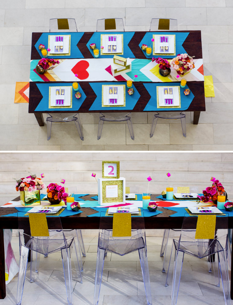 lentines-day-tablescape-unique-tablescape-geometric-ghost-chairs-dark-wood-table-chevron-table-runner-arrows-placemats-modern-jepson-center-wedding-planner
