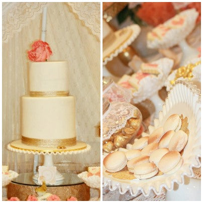 macarons peach and gold cake baby shower dessert table