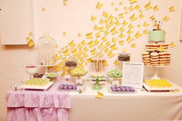 butterfly theme wedding party dessert table pruple and yellow