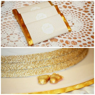 peach and gold baby shower candy bar