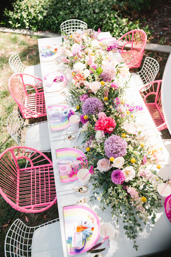 My Little Pony Party Table Setting with flowers