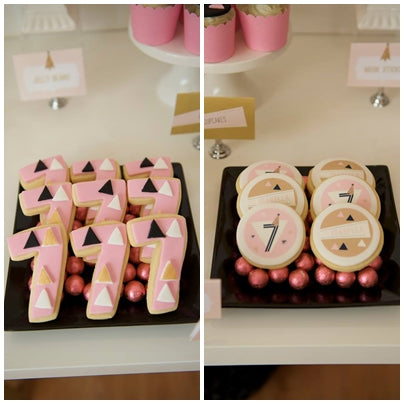 sugar-cookies-geometrical-theme-pink-and-gold-seventh-birthday-party