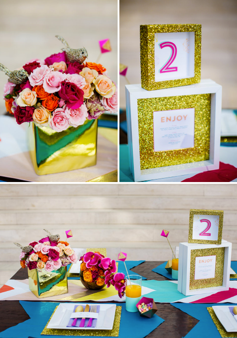 valentines-day-modern-wedding-inspiration-gold-vases-with-bright-flowers-floral-design-chevron-table-runner-jepson-center-weddings-and-events