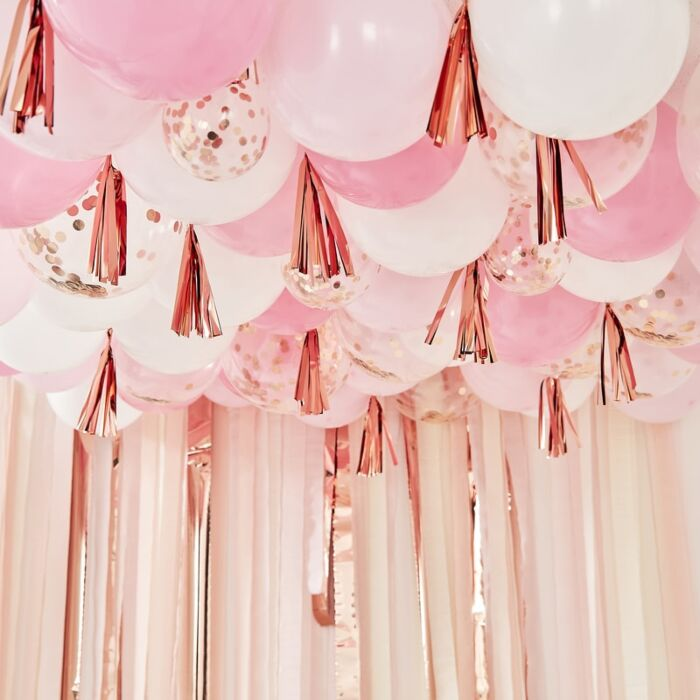 Blush White & Rose Gold Ceiling Balloons With Tassels