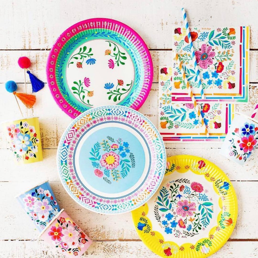 Boho Floral Colourful Plates