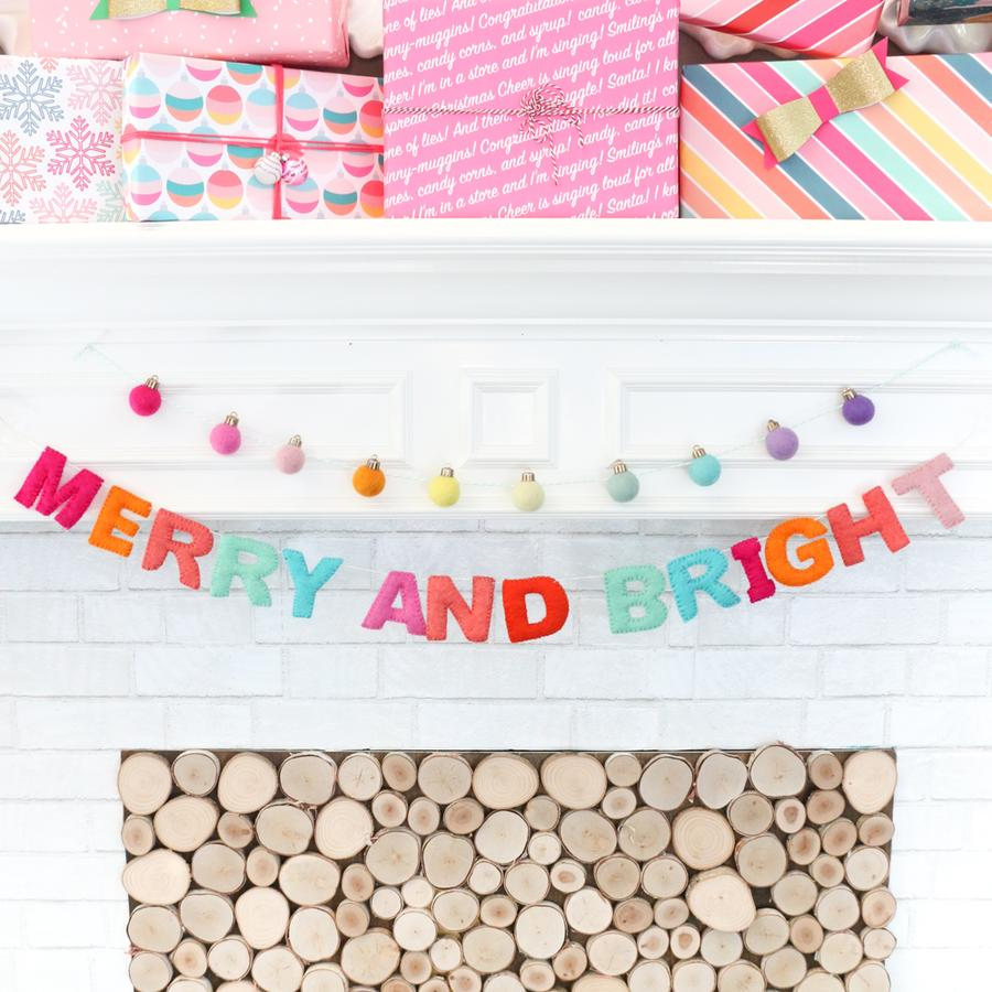Merry & Bright Felt Christmas Garland