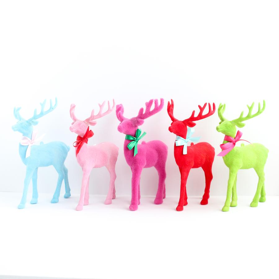 Coloured Flocked Reindeer