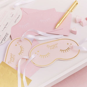 Load image into Gallery viewer, Gold Foiled Eye Mask Shaped Pamper Party Invitations