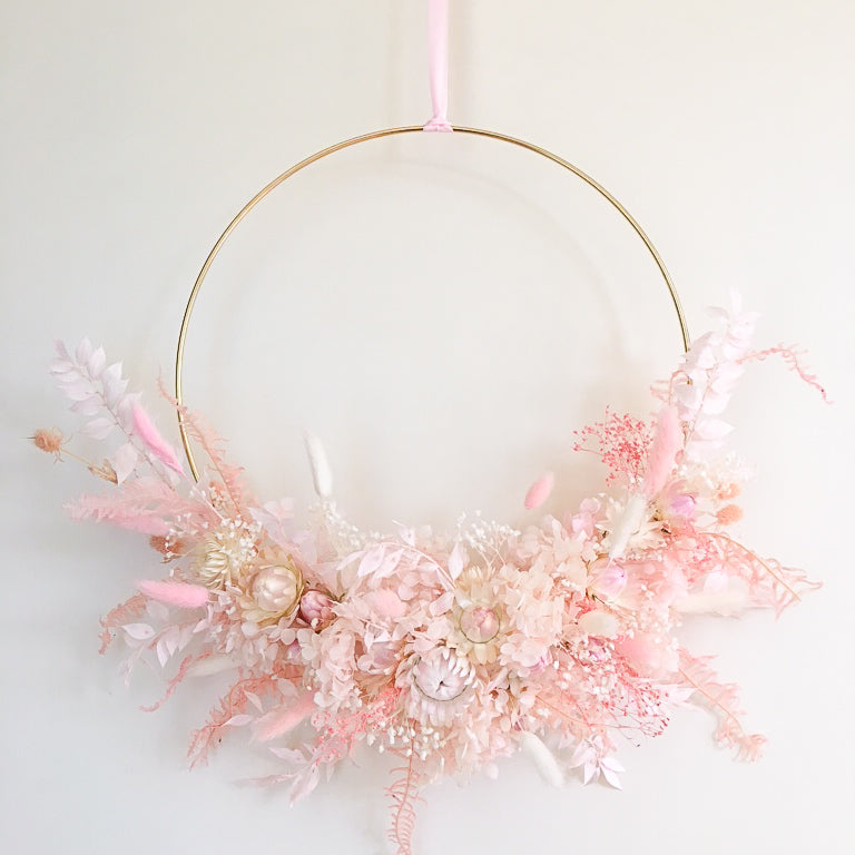 Blush Dried & Preserved Floral Wreath-Large