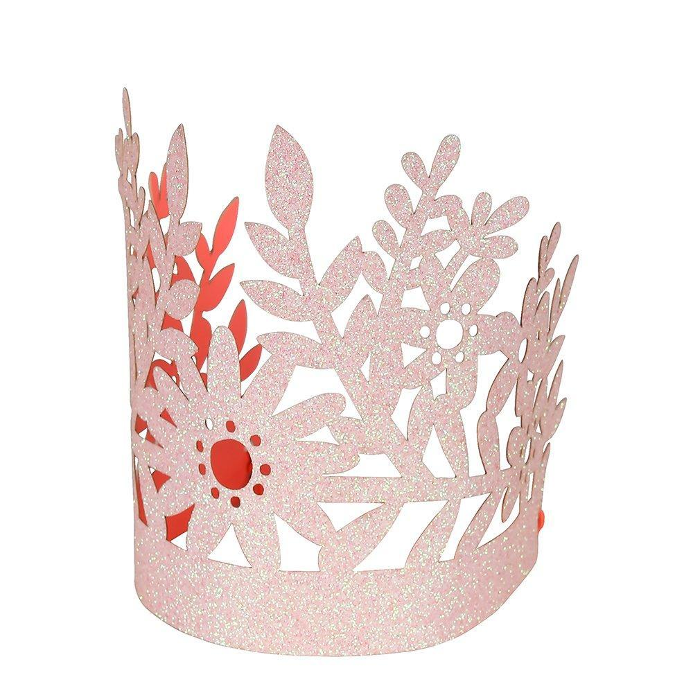 Pink Floral Glitter Crowns (8 Set)