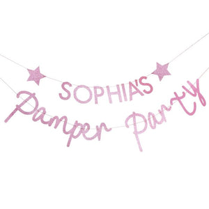 Load image into Gallery viewer, Pink Glitter Personalised Pamper Party Banner
