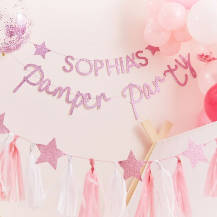 Pink Glitter Personalised Pamper Party Banner