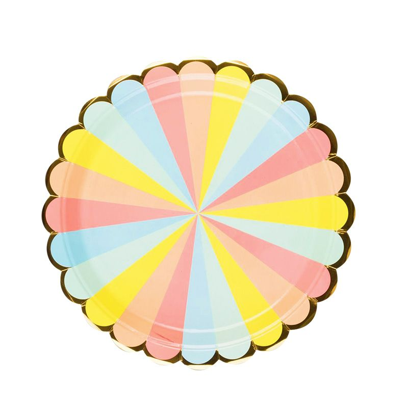 Rainbow Candy Striped Paper Plates