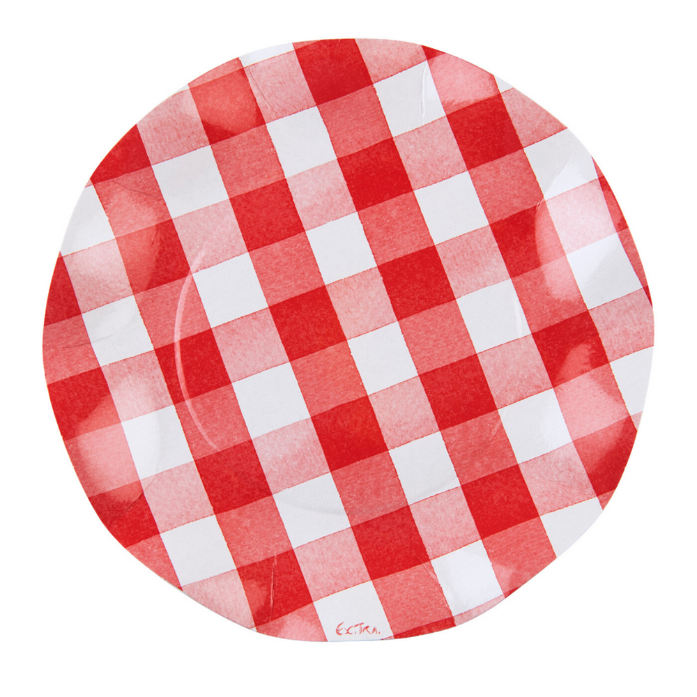 Red Gingham Wavy Salad Paper Plate