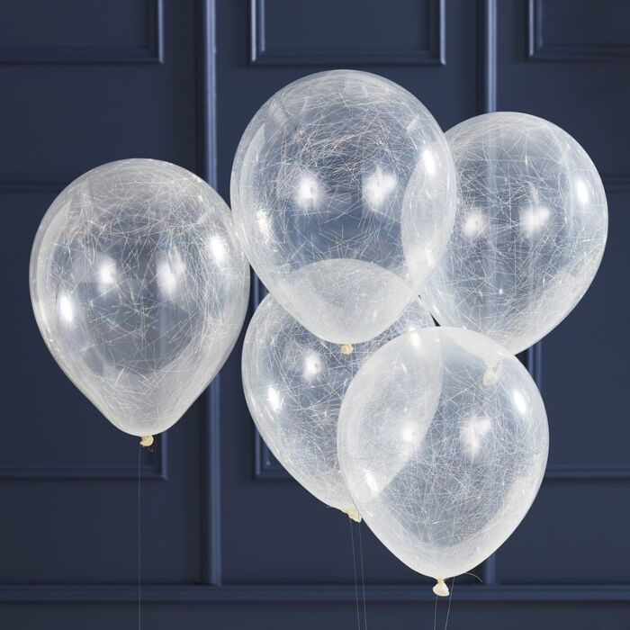 Silver Angel Hair Confetti Balloons