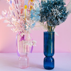 Load image into Gallery viewer, Indigo Ribbed Cylinder Vase