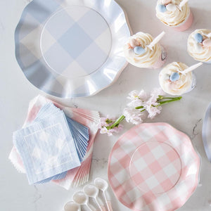 Load image into Gallery viewer, Periwinkle Gingham Wavy Paper Dinner Plate