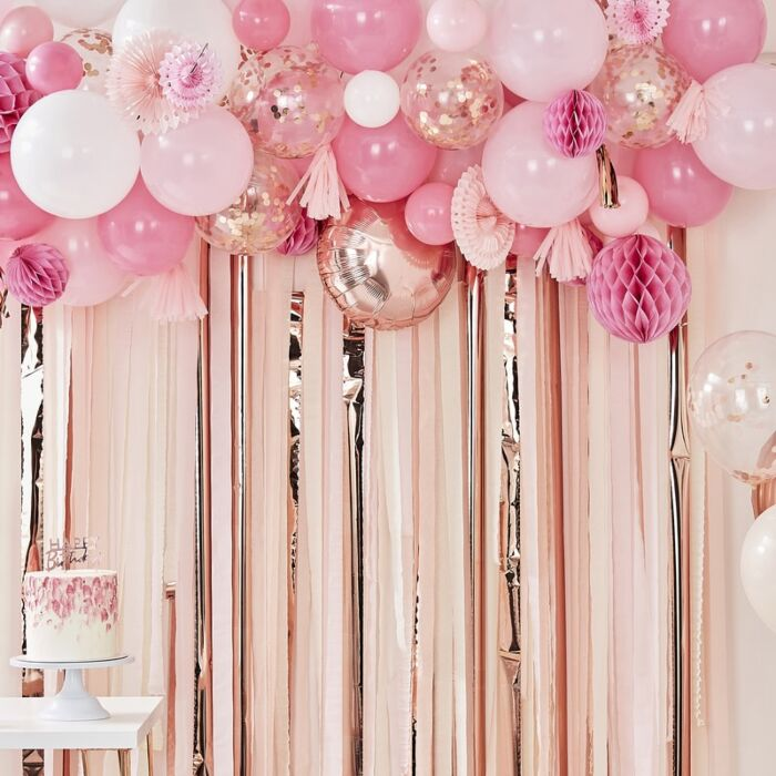 Blush And Peach Balloon And Fan Garland Party Backdrop