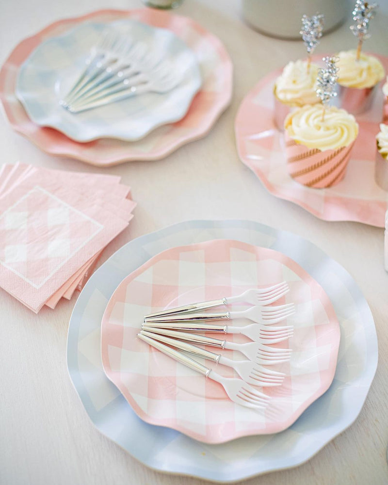 Load image into Gallery viewer, Pink Gingham Paper Cocktail Napkin