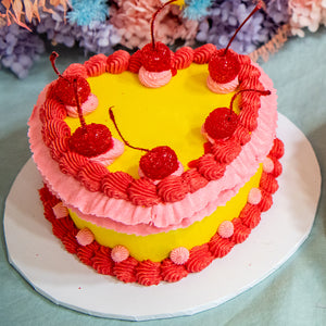 Load image into Gallery viewer, Retro Heart Shaped Cake - Yellow