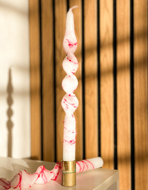 Load image into Gallery viewer, pink-red-swirl-twist-candle