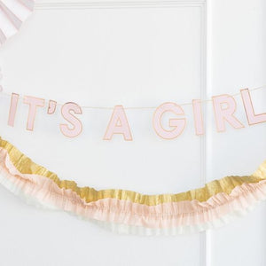Load image into Gallery viewer, It's A Girl Baby Shower Banner
