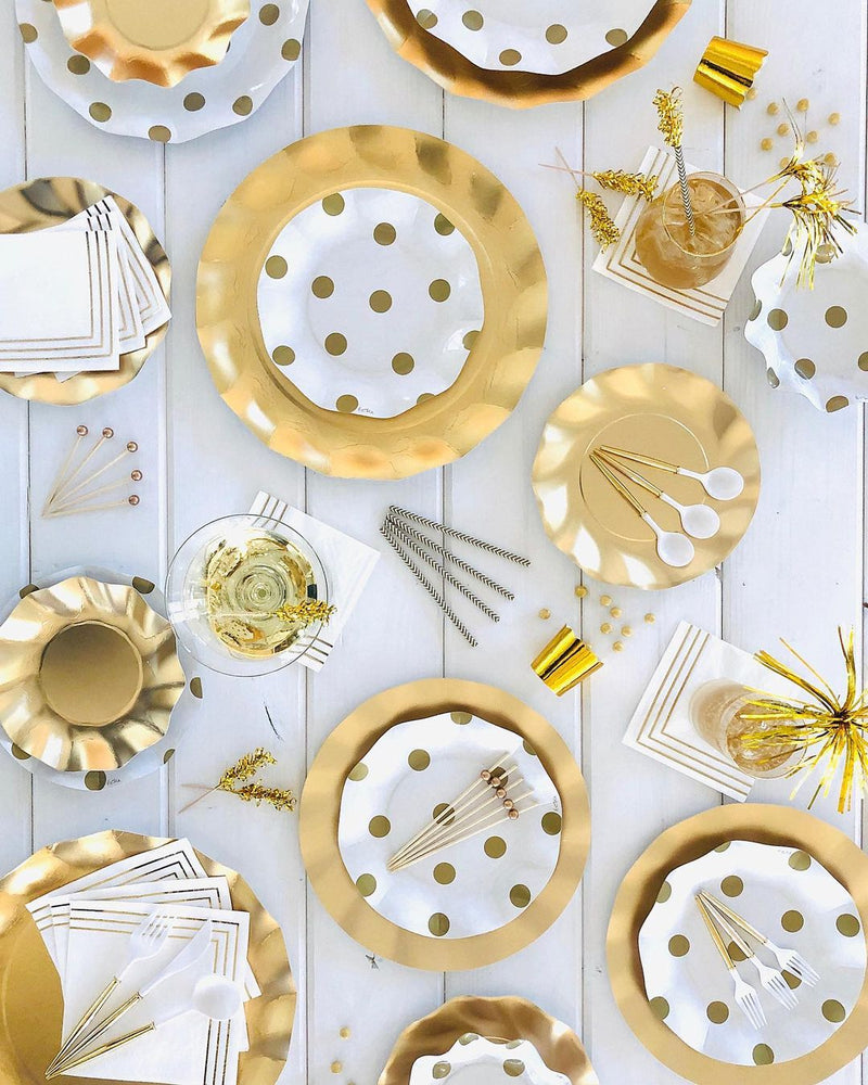 Load image into Gallery viewer, Gold Polka Dot Wavy Paper Appetiser/Dessert Bowls