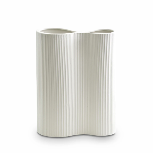 Ribbed Infinity Vase Snow - Medium
