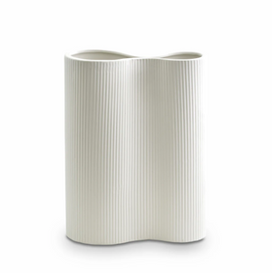 Load image into Gallery viewer, Ribbed Infinity Vase Snow - Medium