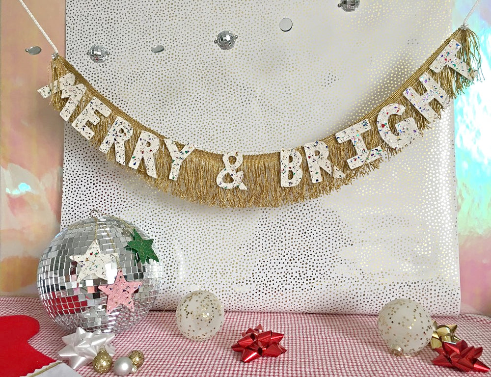 Load image into Gallery viewer, Merry & Bright Glittering Fringe Banner