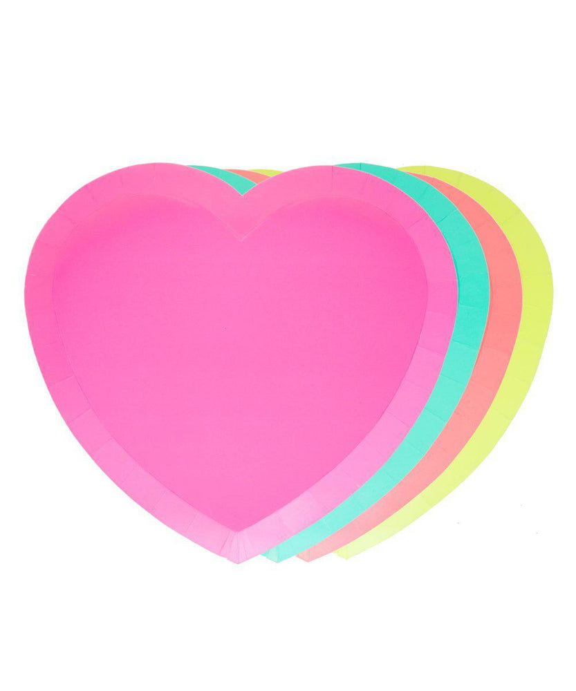 Load image into Gallery viewer, I Heart Neon Paper Plates
