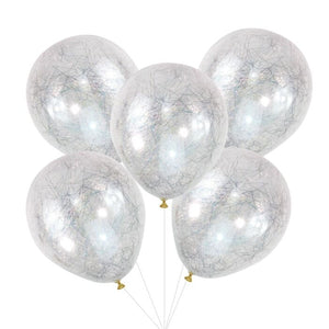 Load image into Gallery viewer, Silver Angel Hair Confetti Balloons