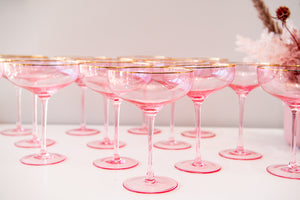 Load image into Gallery viewer, Pink and Gold Rimmed Glass Coupe