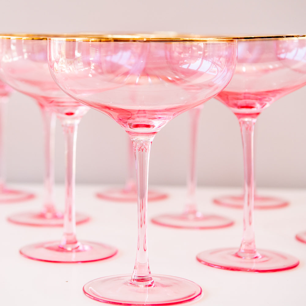 Pink and Gold Rimmed Glass Coupe