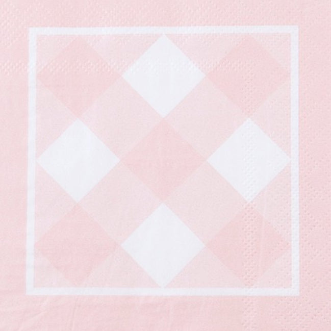 Pink Gingham Paper Cocktail Napkin